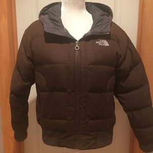 North Face down filled hooded jacket. Size Med.